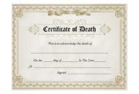 Death Certificate Template  Calvert Giving inside Best Death Certificate Template
