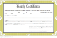 Death Certificate Template Free Download 7 New Designs pertaining to Fake Death Certificate Template