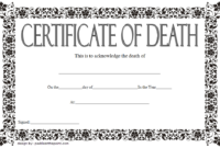 Death Certificate Template Free Download 7 New Designs with Fake Death Certificate Template