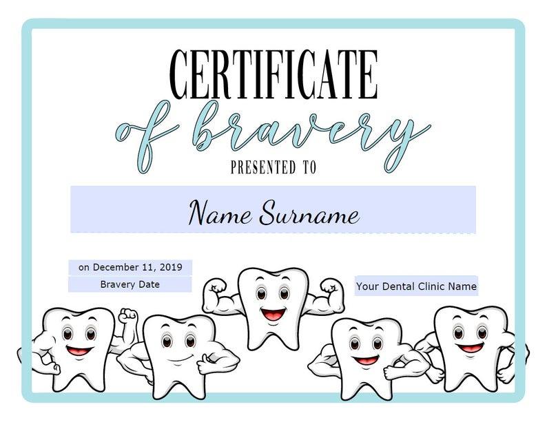 Dentist Certificate Of Bravery Editable Kids Certificate with Bravery Certificate Templates