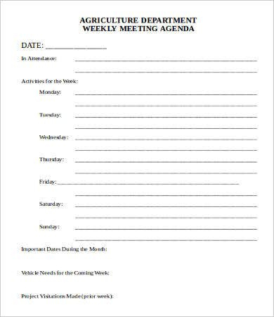 Department Meeting Agenda Template  9 Free Word Pdf regarding Printable Free Meeting Agenda Template Word