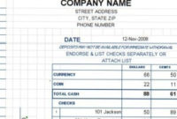 Deposit Ticket Template  Excel Templates with Total Cost Of Ownership Analysis Template