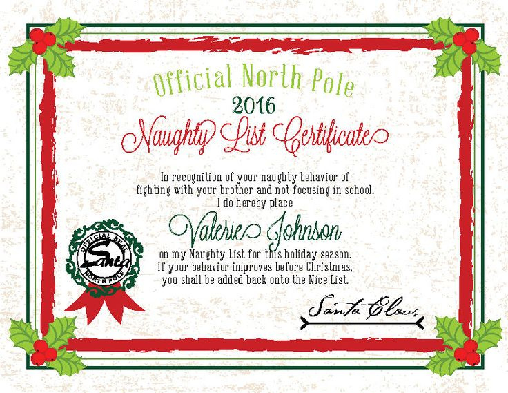 Details About 2019 Christmas Letter From Santa Naughty throughout Free 9 Naughty List Certificate Templates