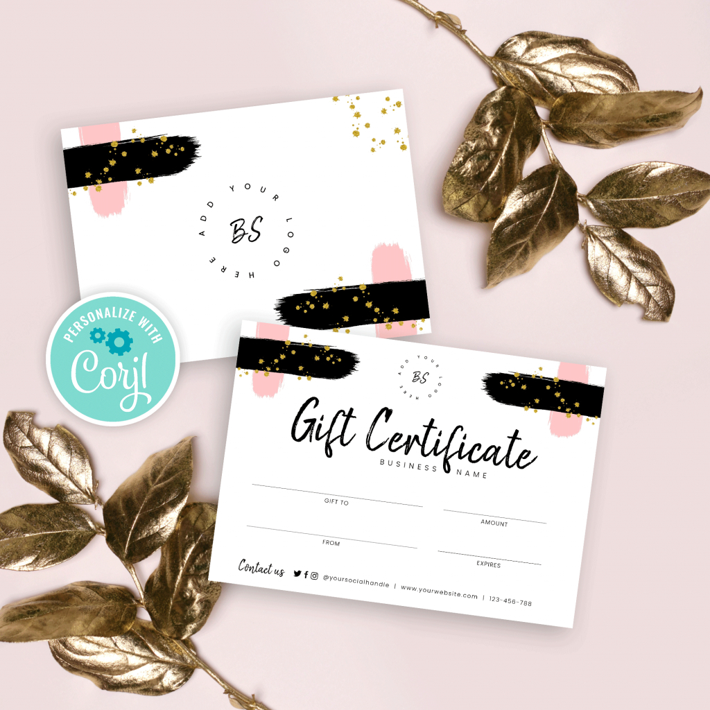 Diy Gift Certificate Template  Printable Small Business with Custom Gift Certificate Template