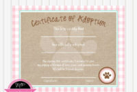 Dog Adoption Certificate/Puppy Party/Instant Download throughout Free Toy Adoption Certificate Template