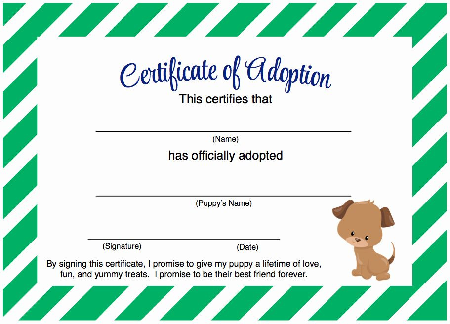 Dog Adoption Certificate Template Free Luxury Puppy Party throughout Amazing Stuffed Animal Adoption Certificate Template Free