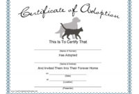 Dog Adoption Certificate Template  Pdf Format  E in Adoption Certificate Template