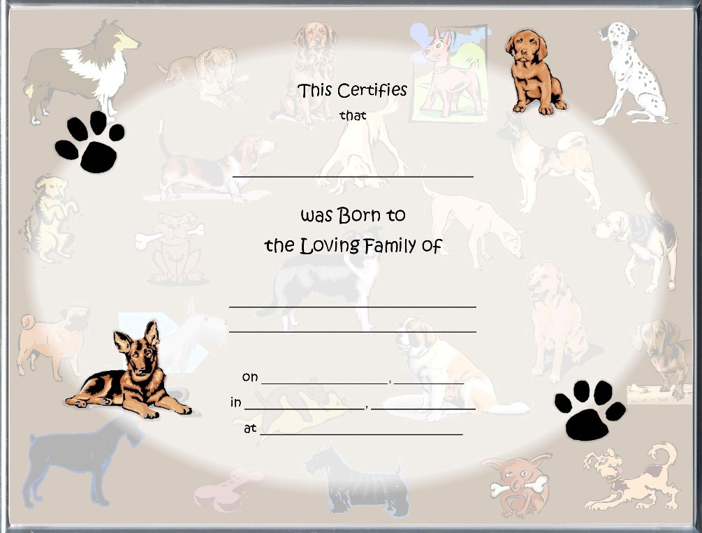 Dog Birth Certificates Page inside Puppy Birth Certificate Template