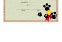 Dog Show Certificate Printable Pdf Download for Printable Dog Obedience Certificate Template