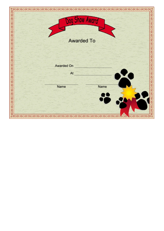 Dog Show Certificate Printable Pdf Download with Dog Obedience Certificate Templates