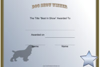 Dog Show Winner Certificate Template Download Printable intended for Best Dog Training Certificate Template