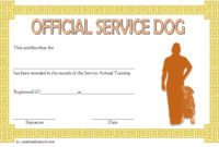 Dog Training Certificate Template 10 Latest Designs Free for Service Dog Certificate Template
