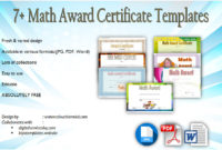Download 7 Math Award Certificate Templates Free in Math Achievement Certificate Printable