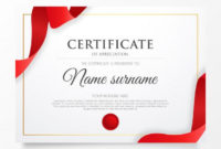 Download Certificate Of Appreciation With Red Ribbon For intended for Quality Powerpoint Certificate Templates Free Download