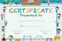 Download Certificate Template With Kids In Winter At for Certificate Of Achievement Template For Kids