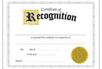 Downloadfreenewcertificateofrecognitiontemplate pertaining to Best Free Printable Blank Award Certificate Templates