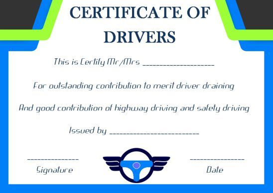 Drivers Training Certificate Template  Certificate with regard to Army Certificate Of Completion Template