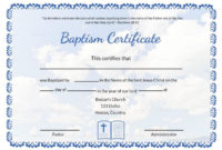 Editable Baptism Certificate Template In Adobe Photoshop in Quality Christian Baptism Certificate Template