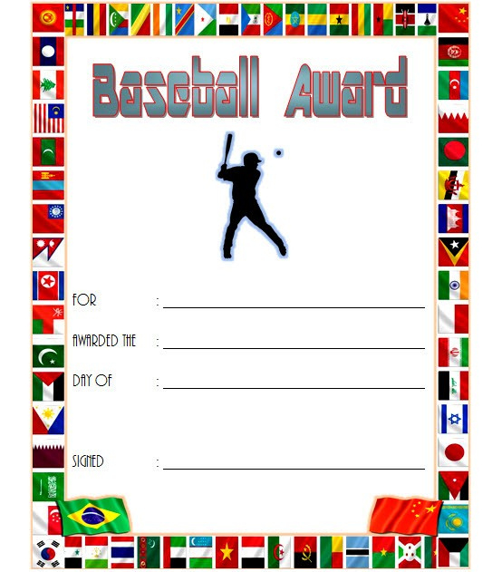 Editable Baseball Award Certificates 9 Sporty Designs Free within Table Tennis Certificate Templates Free 10 Designs