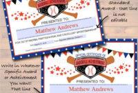 Editable Baseball Award Certificates Instant Download throughout Baseball Achievement Certificates