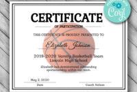 Editable Basketball Certificate Template  Printable intended for Free Basketball Camp Certificate Template