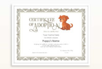 Editable Certificate Of Adoption Dog Template Printable with regard to Dog Adoption Certificate Template
