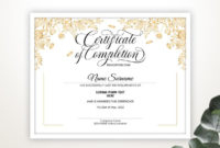 Editable Certificate Of Completion Beauty Training Gold  Etsy for Completion Certificate Editable
