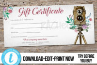 Editable Custom Printable Photography Gift Certificate inside Free Photoshoot Gift Certificate Template