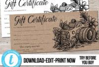 Editable Custom Printable Photography Gift Certificate throughout Best Photography Gift Certificate