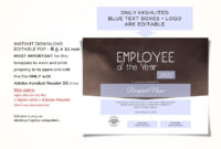 Editable Employee Of The Year Certificate Template for Employee Of The Year Certificate Template Free