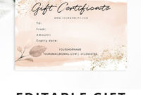 Editable Gift Certificate Template Blush Pink Corjl for Editable Fitness Gift Certificate Templates