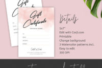 Editable Gift Certificate Template Pink Watercolor Diy within Best Pink Gift Certificate Template