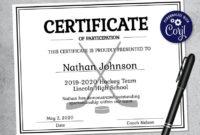 Editable Hockey Sports Team Certificate Template Printable inside Awesome Hockey Certificate Templates