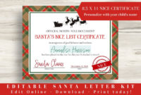 Editable Letter From Santa Kit Nice List Certificate for Amazing Free 9 Naughty List Certificate Templates