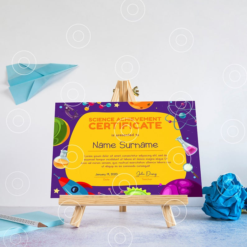 Editable School Science Certificate Award Template  Etsy within Science Award Certificate Templates