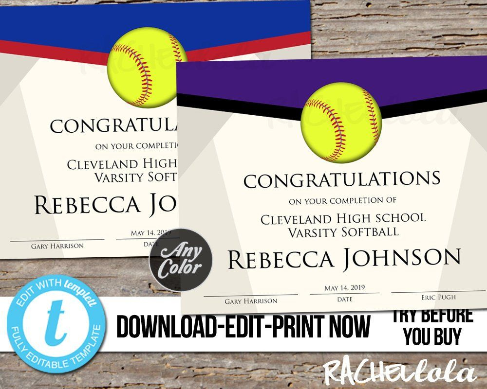 Editable Softball Award Certificate Custom Printable intended for Amazing Softball Certificate Templates