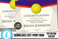 Editable Tennis Award Certificate Custom Printable within Amazing Tennis Tournament Certificate Templates