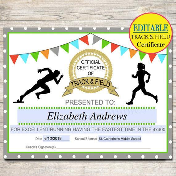Editable Track  Field Award Certificates Instant Download regarding Quality Editable Baseball Award Certificates