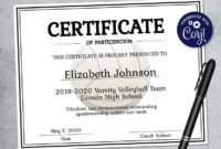 Editable Volleyball Certificate Template Printable  Etsy in Volleyball Certificate Template Free