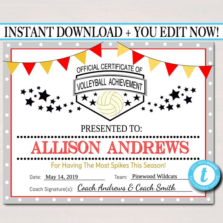 Editable Volleyball Certificates Instant Download within Quality Volleyball Participation Certificate