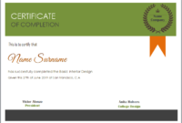 Editable Word Certificate Of Completion Template in Quality Free Completion Certificate Templates For Word
