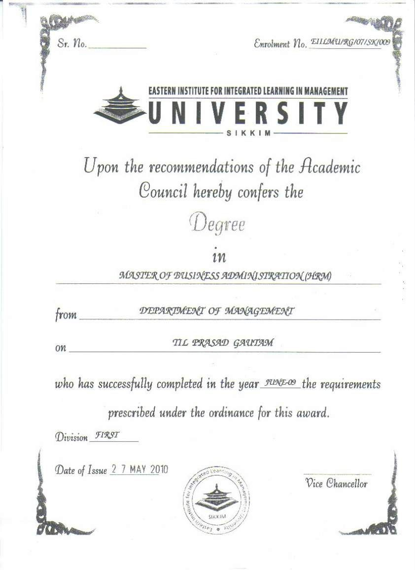 Eiilm University Degree Certificate Sample  2019 2020 inside Masters Degree Certificate Template