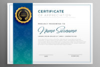 Elegant Blue Certificate Of Appreciation Template for Awesome Template For Recognition Certificate