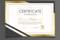 Elegant Certificate Template With Golden Style Vector with regard to Elegant Certificate Templates Free