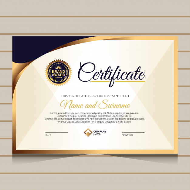 Elegant Style For Certificate Template  Premium Vector within Quality Elegant Certificate Templates Free
