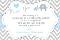 Elephant Thank You Card  Baby Shower Thank You Cards within Quality Baby Shower Gift Certificate Template Free 7 Ideas