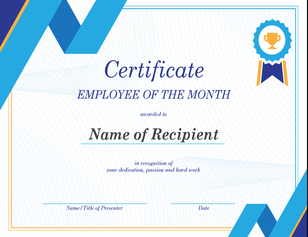 Employee Of The Month Certificate intended for Best Employee Of The Month Certificate Template Word