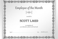 Employee Of The Month Certificate Sample  Pdf Format in Employee Of The Month Certificate Template Word