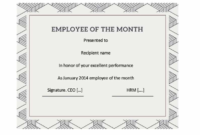 Employee Of The Month Certificate Template 3 intended for Best Employee Certificate Template