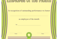 Employee Of The Month Certificate Template Download with Employee Of The Month Certificate Template